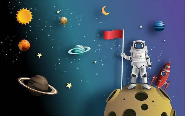 Astronaut raising flag on moon with spacecraft. Premium Vector