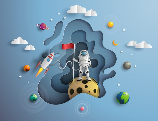 Astronaut raising flag in outer space on mission. Premium Vector