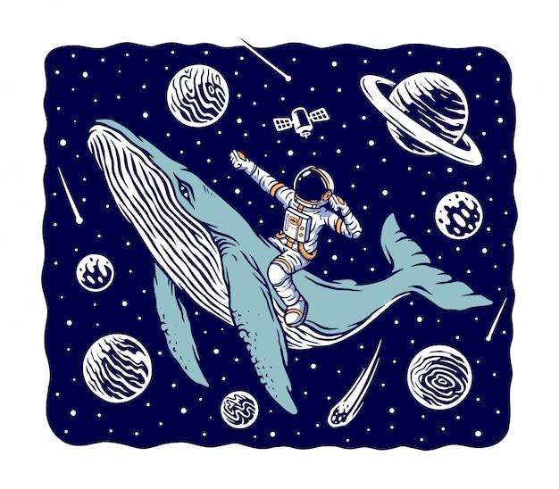 クジラのイラストに乗った宇宙飛行士 Premiumベクター