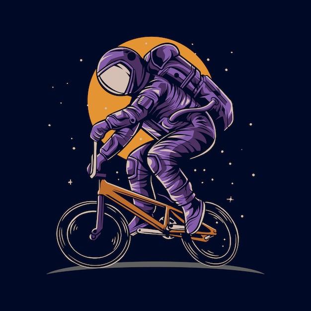 Астронавт езда на велосипеде bmx в космосе с луной фоновой иллюстрации Premium векторы