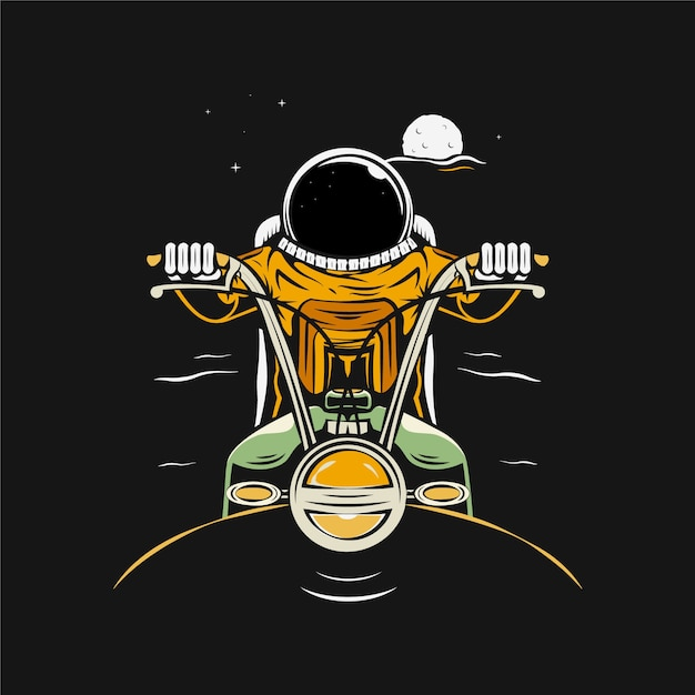 Astronaut riding motorcycle cartoon illustration Premium Vector