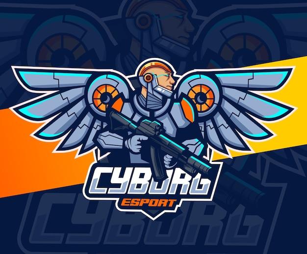 翼と武器のeスポーツのロゴデザインと宇宙飛行士のロボットマスコット Premiumベクター