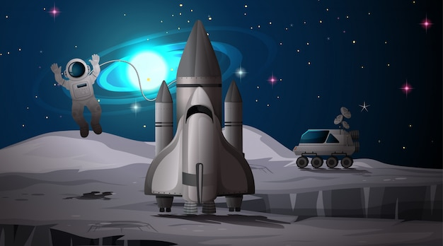 Astronaut and rocket on planet Free Vector