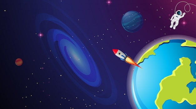 Astronaut and rocket in space Free Vector