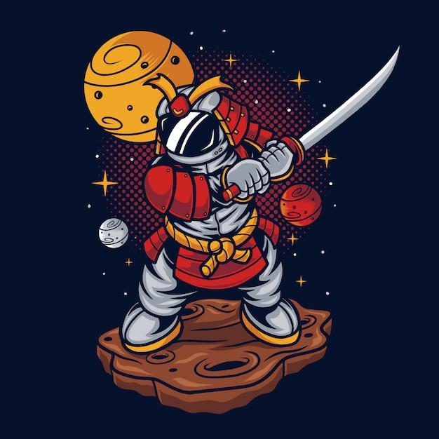 Astronaut samurai illustration Premium Vector