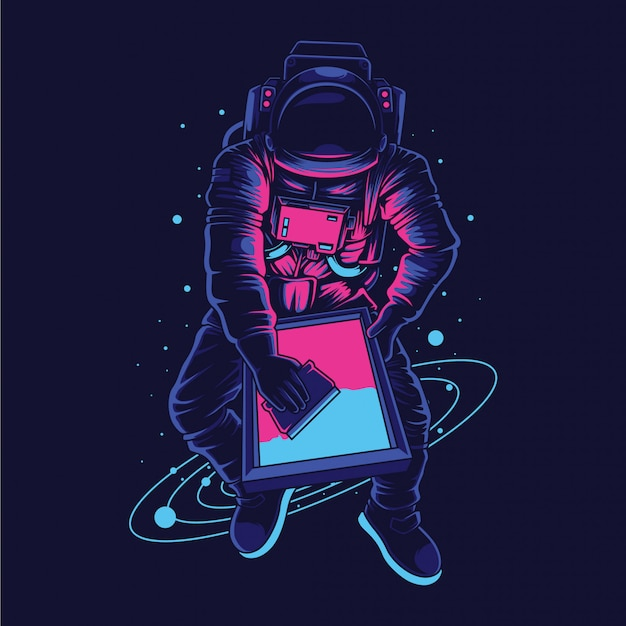 Astronaut screen printer  illustration Premium Vector