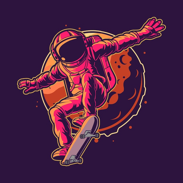Астронавт катается на скейтборде на космическом векторе Premium векторы