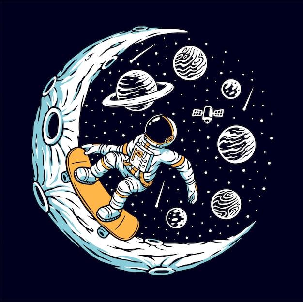 Астронавт катается на скейтборде на луне Premium векторы