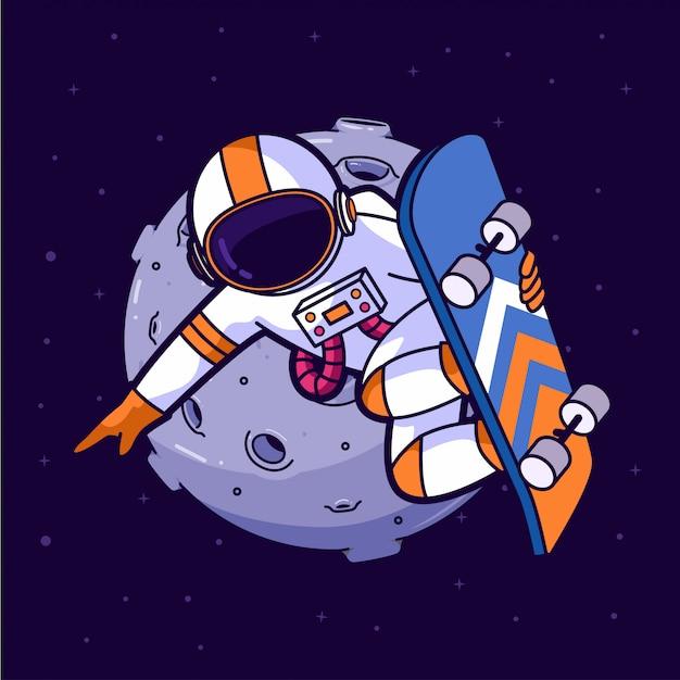 Astronaut skater in space Premium Vector