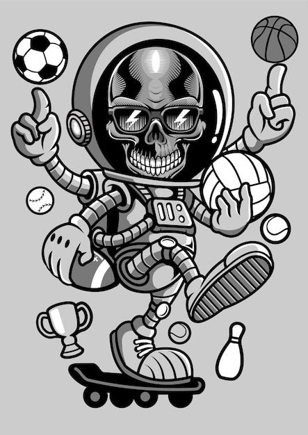 Astronaut skull skateboard hand drawn illustration Premium Vector