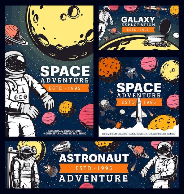 Космонавт космическое приключение, космонавт в космическом пространстве ретро векторные баннеры Premium векторы
