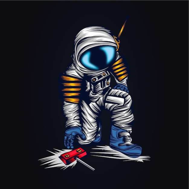 우주 비행사 공간 삽화 삽화 프리미엄 벡터