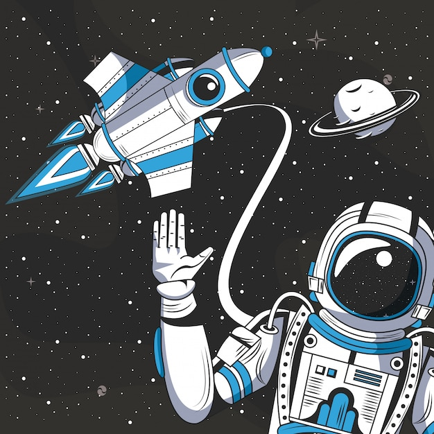 Astronaut in the space drawing cartoon Free Vector