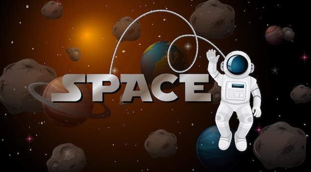 Astronauta nella scena spaziale Vettore gratuito