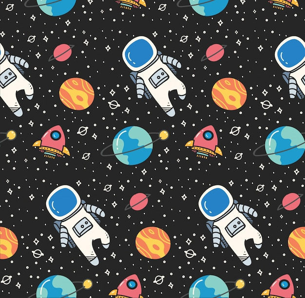 Astronaut in space seamless background in kawaii style Premium Vector