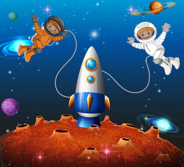 Astronaut in the space Free Vector