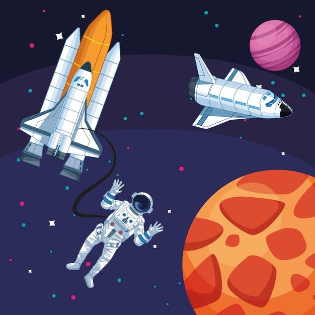 Astronaut spacecrafts planets galaxy space exploration Premium Vector