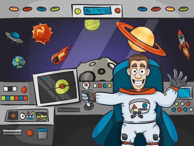 Astronaut in spaceship Premium Vector