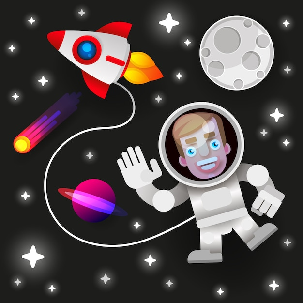 Astronaut stay on planet or moon and welcomes us. Premium Vector