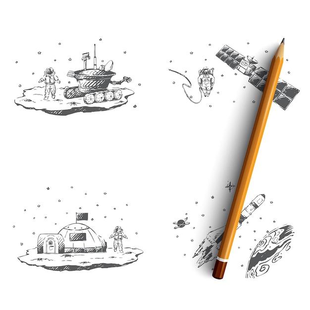 Astronaut study of surface, orbital station illustration Premium Vector
