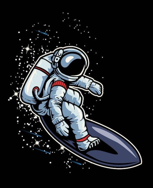 Astronaut surfing in the space Premium Vector
