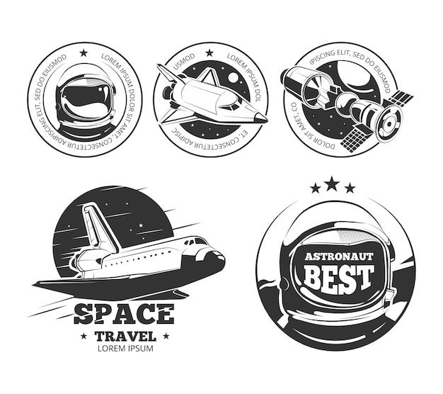 Astronautics vector labels Premium Vector