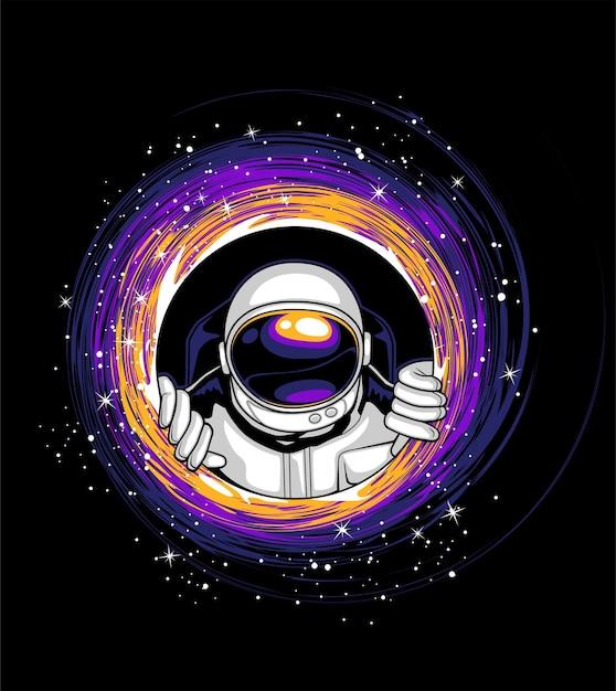 Astronauts and black holes Premium Vector