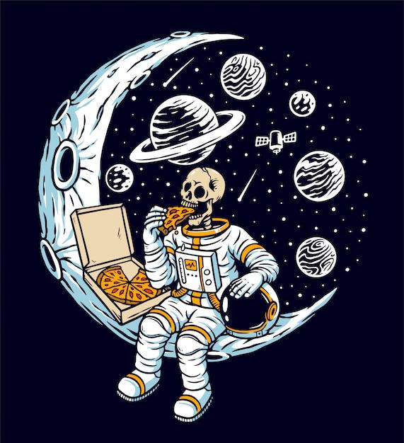 Астронавты едят пиццу на луне иллюстрации Premium векторы