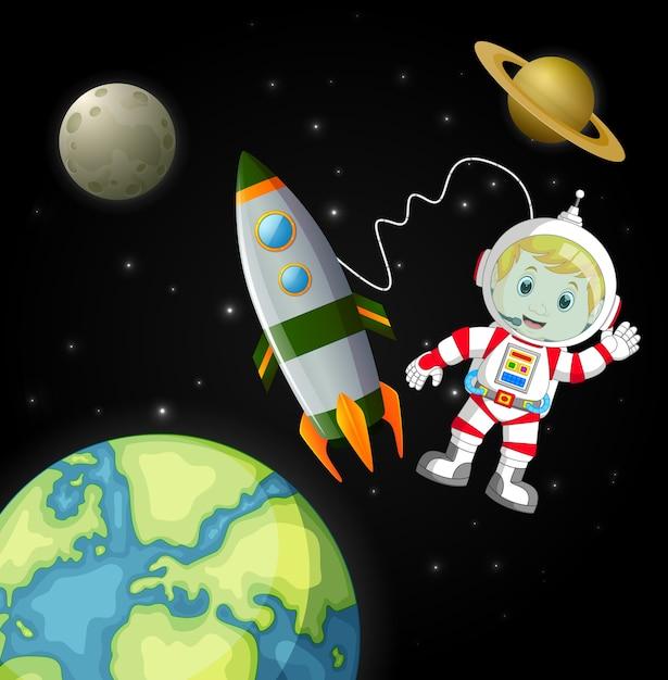 銀河を探索する宇宙飛行士 Premiumベクター
