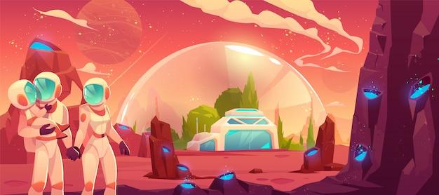 赤い惑星の表面図の宇宙飛行士家族 無料ベクター
