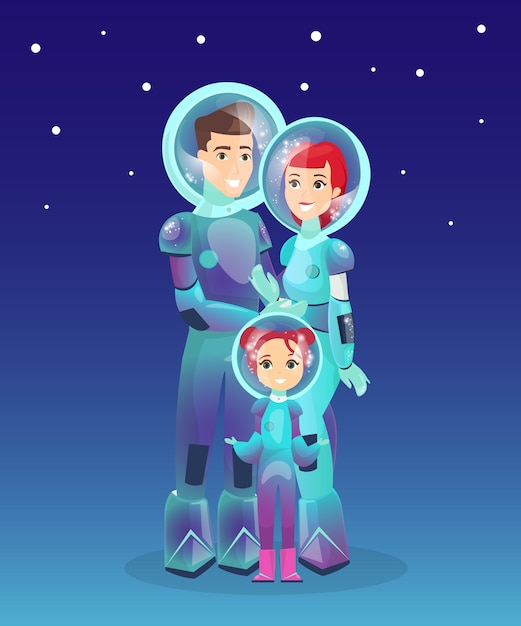 Семья космонавтов, космонавт, люди в скафандре. футуристическая концепция людей. колонизация марса. Premium векторы