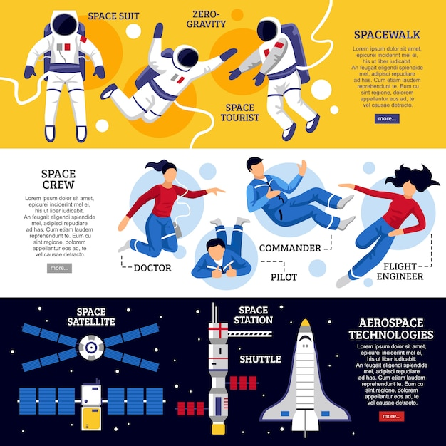 Astronauts horizontal banners Free Vector