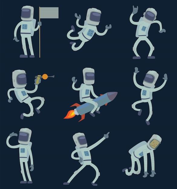 宇宙飛行士、仕事、楽しみ。 Premiumベクター