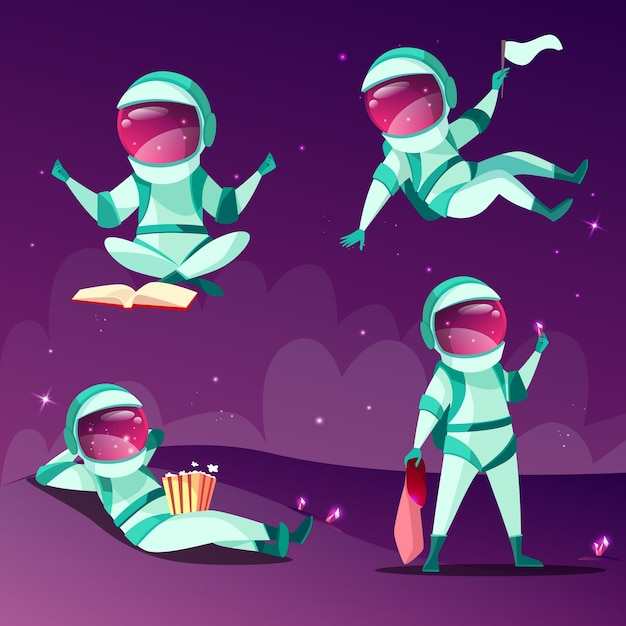 Astronauts in weightlessness. Cartoon astronauts or cosmonauts in zero gravity Free Vector
