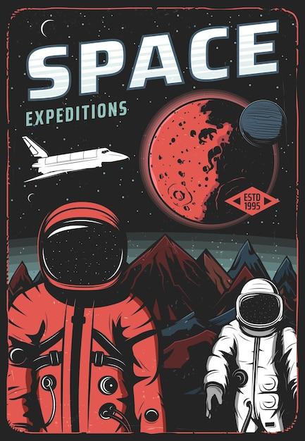 火星表面の宇宙飛行士、宇宙探検レトロポスター Premiumベクター
