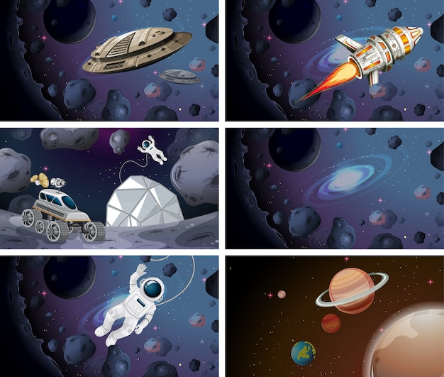 Astronauts and space ship scenes Premium Vector