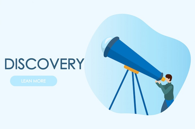 Astronomer looking through telescope. concepts for website and applications. modern vector flat illustration. Premium Vector