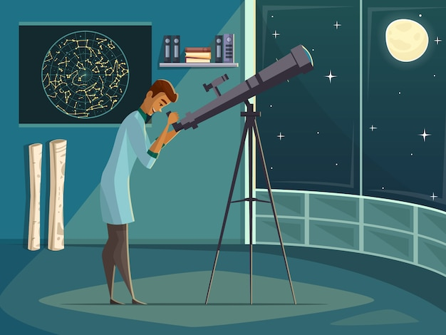 Astronomer scientist observing moon in night sky  through open window Free Vector