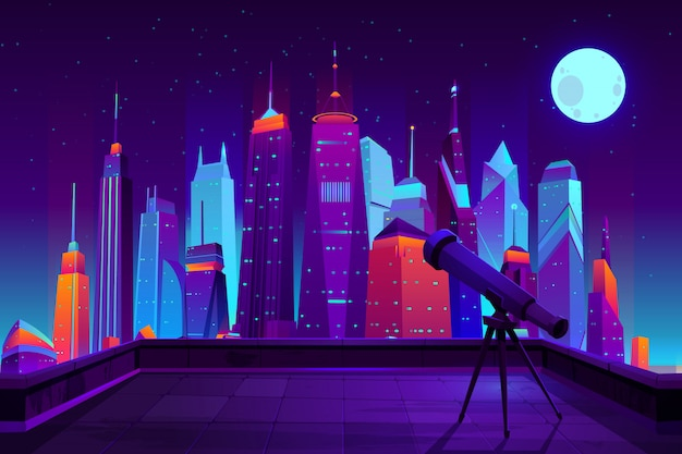 Astronomical observations in modern city cartoon  in neon colors. Free Vector