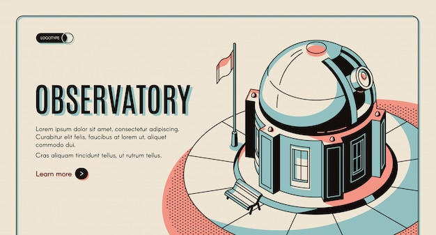Astronomical observatory, scientific institution, touristic attraction Free Vector