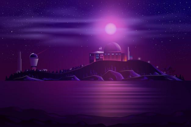Astronomical observatory telescopes cartoon Free Vector