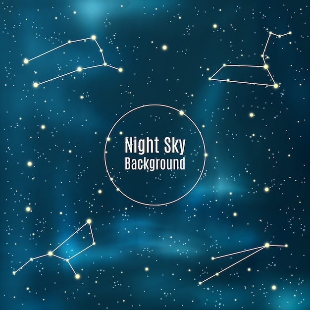 Astronomy background with stars and constellations Free Vector