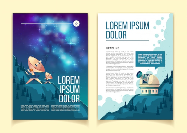 Astronomy brochure, flyer with astronomical equipment to observe night sky and stars Free Vector