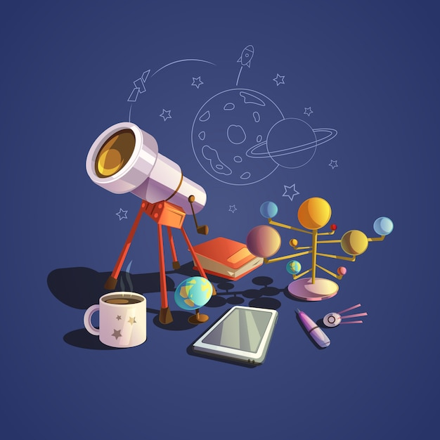 Astronomy concept with retro science cartoon icons set Free Vector
