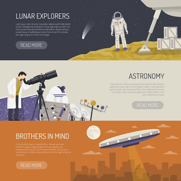 Astronomy flat horizontal banners Free Vector
