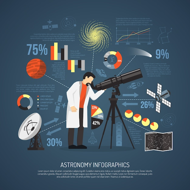 Astronomy flat infographics layout Free Vector