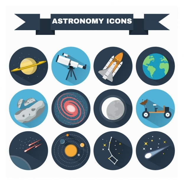 Astronomy icons collection Free Vector