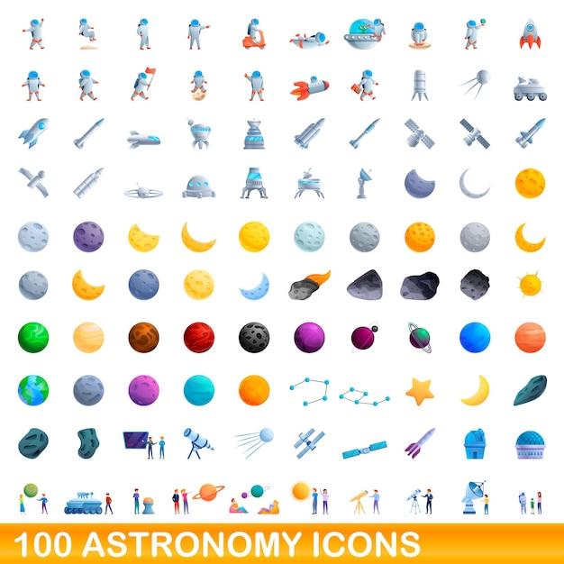Набор иконок астрономии. карикатура иллюстрации иконок астрономии на белом фоне Premium векторы