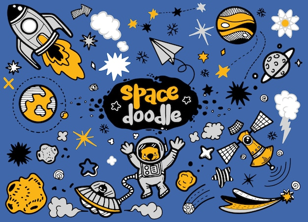 Astronomy and space doodle Premium Vector