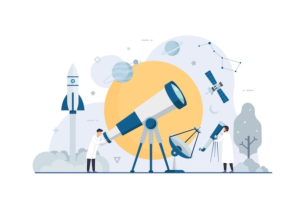 Astronomy space research with flat tiny scientist illustration Premium Vector
